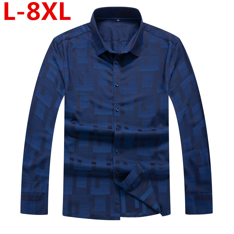 Grande taille 8XL 7XL nouveaux hommes chemises de luxe robe de soirée de mariage chemise à manches longues chemise de smoking en soie hommes chemise en coton mercerisé