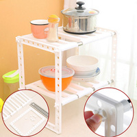 Adjustable 2 Tier Under Sink Shelf Storage Rack Holder For Kitchen Dishes Condiment Bowl E2S