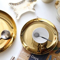 Royal Golden Ceramic Dinnerware Set Plate And Mug Round Dish Plate Gold Serving Tray Big Fruit Plate Fast Food Tray 24CM Or 20CM