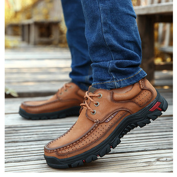 Genuine Leather Outdoor Hiking Sneakers Lace-up Sport Causal Shoes Breathable Comfortable Trekking Shoes for Men