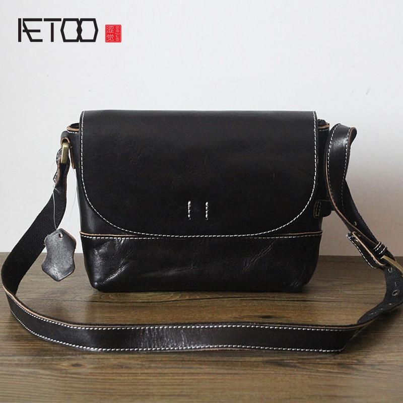 AETOO New Japanese leather handbags retro vegetable tannery cowhide female shoulder bag original hand bag new japanese original authentic vfr3140 5ezc