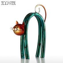 Tooarts Cat Figurines Iron Figurine Metal Design Spring Little Cat Modern tyle Art Home Decoration Craft