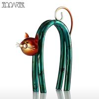 Tooarts Katze Figuren Eisen Figurine Metall Design Frühling Kleine Katze Moderne tyle Kunst Dekoration Handwerk Geschenk Für Zuhause
