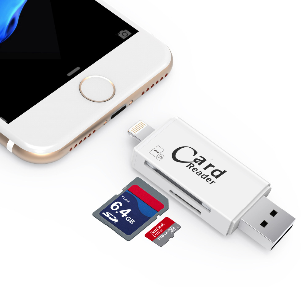 Kismo USB2.0 Memory Card Reader TF Micro SD Card OTG Lightning USB Card Reader For iPhone X 8 7 6 Plus 5S ipad Android Phones -in Card Readers ...
