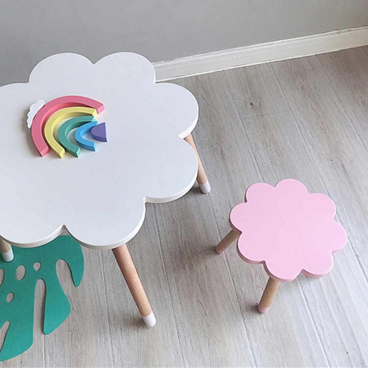 Четырехцветная мебель в скандинавском стиле, детская комната, твердая древесина, Голубое облако, детская комната, стул, письменный стол