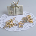 3PCS/Set Leaf Haircombs Hairwear Wedding Fashion Jewelry Bride Haircomb Rhinestone Non-Nickel Gold Plated Accessories Combs