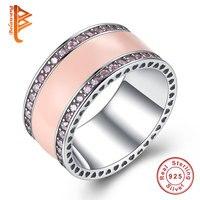 BELAWANG Radiant Herzen der Marke Ringe Original 925 Sterling-Silber-Schmuck Klar CZ Emaille Ringe Für Frauen Mode schmuck Geschenk