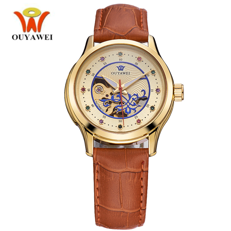 OUYAWEI Luxury Ladies Fashion Gold Automatic Watch Women Dress Mechanical Watches Skeleton Leather Wrist Girls Relogio Feminino ごつい メンズ 腕時計