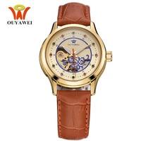 OUYAWEI Luxury Ladies Fashion Gold Automatic Watch Women Dress Mechanical Watches Skeleton Leather Wrist Girls Relogio Feminino