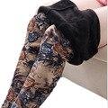 Ropa Mujer Invierno 2016 Mulheres de Meia Idade Leggins Witer Mais Grossa de Veludo Do Vintage Floral Impressão Calças Leggings Quente BG389