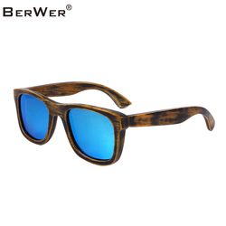 BerWer 2019 Designer Bamboo Wood Sunglasses Polarized Men women Wooden Glasses Coating Summer Style
