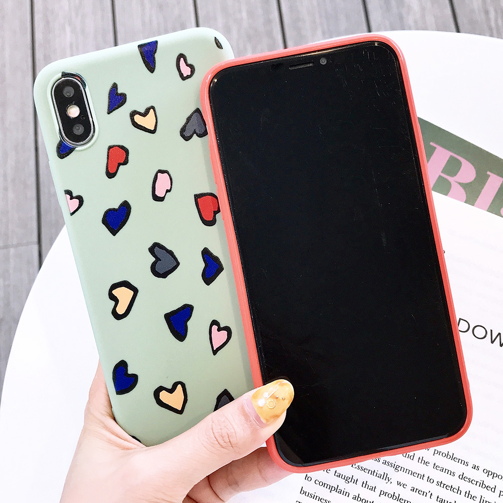 KIPX1116_2_JONSNOW Phone Case for iPhone X XS XR XS Max 6 6S 7 8 Plus Painted Heart Leopard Style Frosted Soft Silicone Cover Cases Capa Fundas