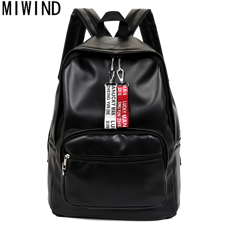 MIWIND Brand Backpack Women Schoolbag Soft PU Leather Travel Bag Female Leisure Student Soft Black Backpack TQC1078 huasign new travel backpack korean women backpack leisure student schoolbag soft pu leather women bag