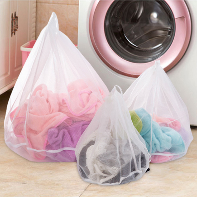 1PC Delicate Mesh Laundry Bag Drawstring Lingerie Bra Underwear Socks Washing Machine Clothes Protection Net Wash Bag 3 Sizes