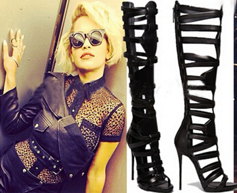 hot selling black leather cut-outs knee high summer boots open toe gladiator sandal boots new arrival knee high boots cross strap cut outs gladiator sandal boots suede open toe lace up sandals summer women flat shoes