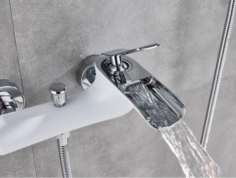 Miscelatore Vasca Da Bagno : Bianco vasca da bagno rubinetti cromato vasca da bagno doccia set