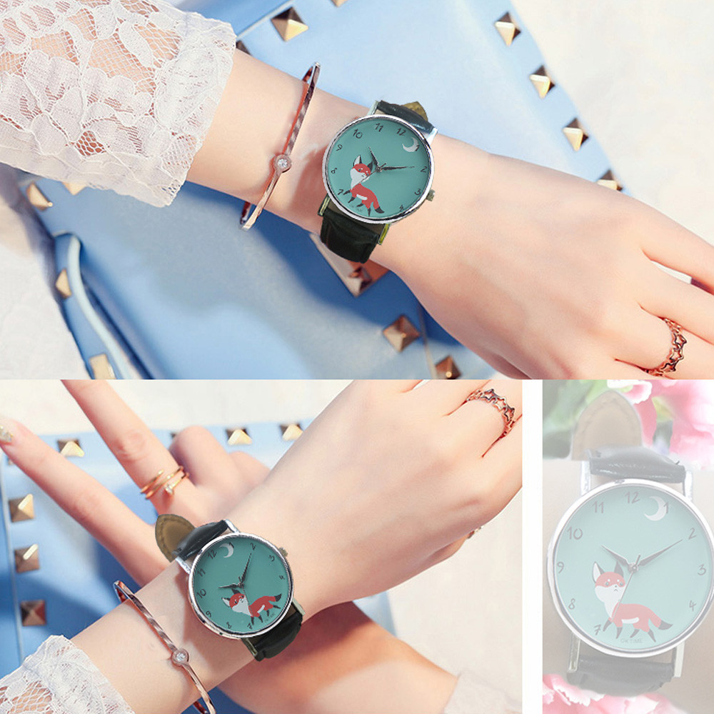 Retro Cartoon Fox Watches Women Fashion Leather Strap Quartz Wrist Watch Unisex Lady Women's Sports Clock Relogio Feminino #Ju cartoon gold horse print blue leather strap sports ladies quartz watch relojes hombre 2017 bayan saat women watches hodinky b133