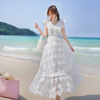 Comelsexy Fashion Women Mesh Patchwork Lace 3d Floral White Long Dress Summer Big Swing Beach Maxi Dress Slim Embroidery Dress
