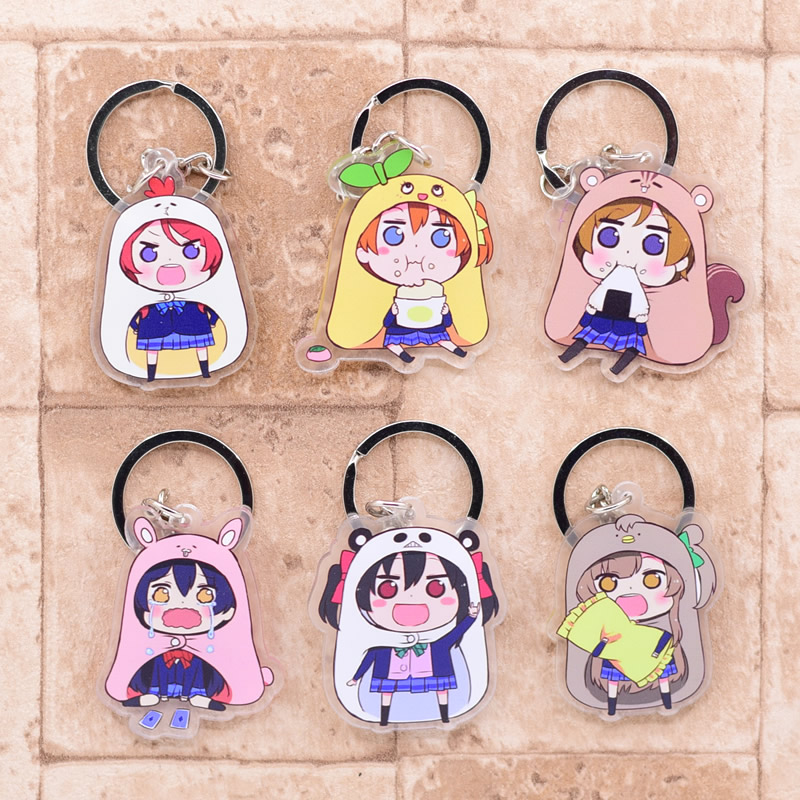 2019 Love Live Keychain Double Sided Key Chain Acrylic Pendant Anime Accessories Cartoon Key Ring