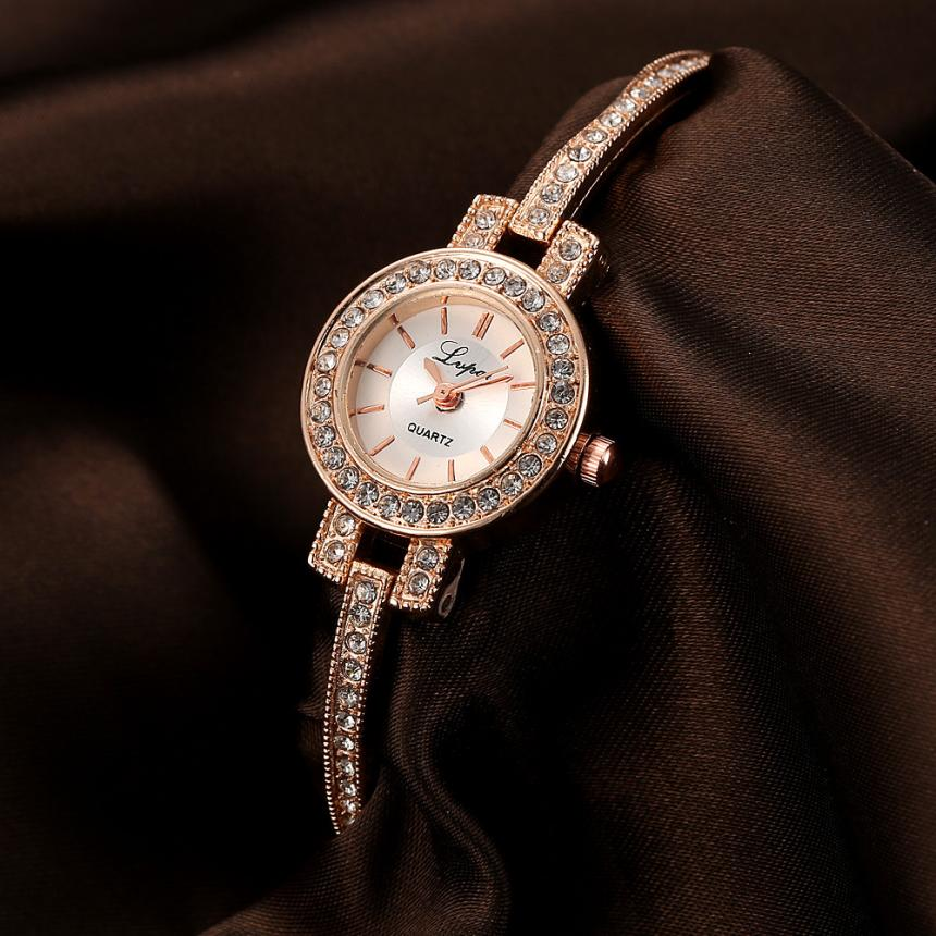 LVPAI Women Watches Reloj Mujer Bracelet Rhinestone Crystal Rose Gold Stainless Steel Ladies Watch Bayan Kol Saati Reloj Mujer
