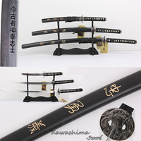 Bushido Musashi 3pcs Set Swords With Wooden Stand Carbon Steel Replica Movie The Last Samurai Martial