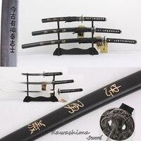 Bushido Musashi 3pcs Set Swords With Wooden Stand Carbon Steel Replica Movie The Last Samurai Martial