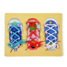 Niños Montessori Juguete de Madera Del Bebé Corbata Me Cordón ShoeLearning Formación Preescolar Educación Brinquedos Juguets