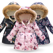Russia Winter Jacket Kids Girls Cartoon Printed Long Coats Warm Thick Jackets Children Outerwear Coat Baby Girl New Year Clothes(China)