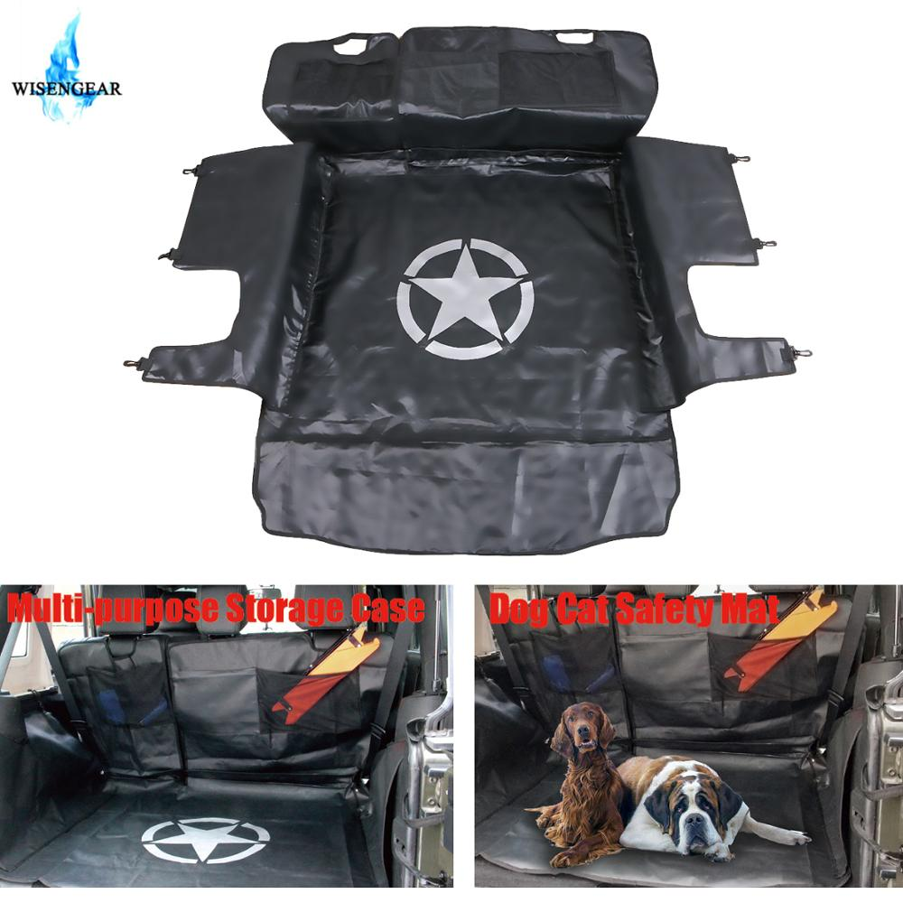 WISENGEAR Rear Bench Floor Mat Storage Cargo Liners for Jeep Wrangler JK 2007 2017 Dog Cat