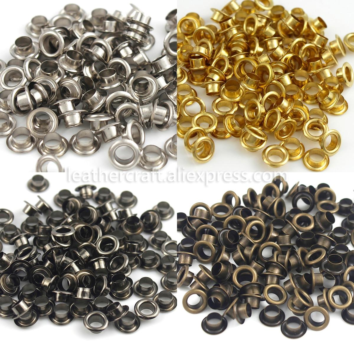 100 ensembles 4mm laiton oeillet avec rondelle en cuir artisanat réparation oeillet rond yeux anneaux pour chaussures sac vêtements en cuir ceinture chapeau