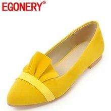EGONERY/Женская обувь на плоской подошве; Новинка; стильная обувь из флока с оборками без застежки с острым носком; большой размер весенний желтый и черный цвет; женская обувь с закрытым носком
