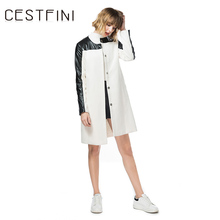 CESTFINI Women Parka Trench leather-based Coat Women Casual Long Sleeve leather-based Fashion Pattern Women Long Coat NP002