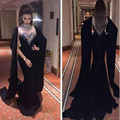 Preto lindo Dubai Kaftan Vestido de Noite Longo 2017 Alta Neck Bling Frisada de Cristal Da Sereia do baile de Finalistas Vestidos de Noite Robe De Soirée