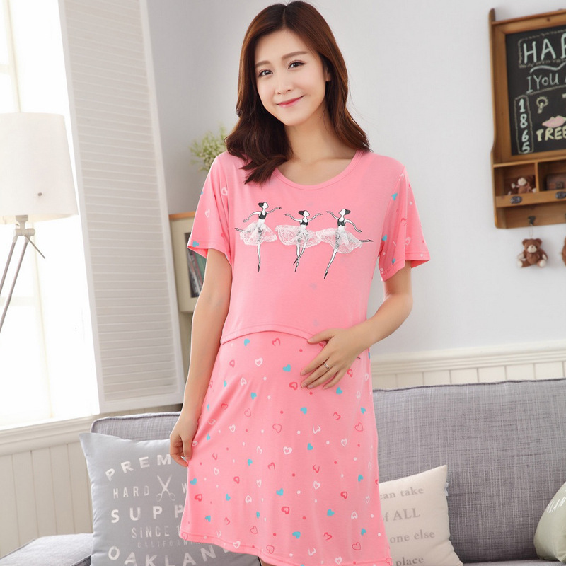 Summer Fashion Maternity Nursing Nightgown Breastfeeding Night Dress for Pregnant Women Pregnancy Breast Feeding Sleepwear