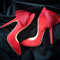 2017 New Sexy Red Back Fringe Women Pumps Sexy High Heels Tassels Wedding Dress Shoes Woman Pointed Toe Zapatos Mujer Big Size