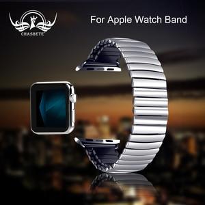 Эластичный ремешок для часов из нержавеющей стали для Apple Watch 38 мм 42 мм iWatch 1/2/3/4/5 все версии 40 мм 44 мм металлический ремешок Strech Band Loop