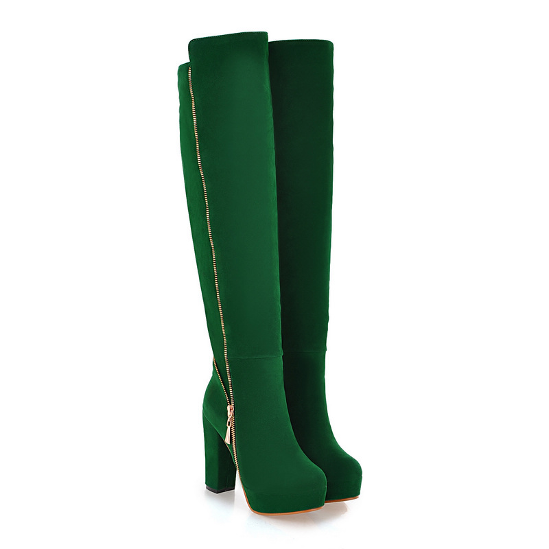 Sales Hot Elegant  Black Army Green Women Over Knee Thigh High Snow Boots Ladies Shoes AI116 High Heels Plus Big size 10 43 faux suede gladiator retro army boots over the knee women snow boots winter thigh high boots shoes woman green botas size 35 43