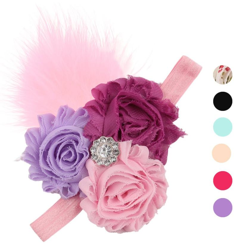 PARRY dropship Baby Girl Toddler Infant Elastic Feather Hairband Headbands Hair Band Flower Accessories S55 scrunchies st1