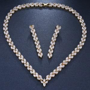Image 5 - Комплект свадебных украшений Emmaya, золотистого цвета с фианитом, свадебное ожерелье, серьги