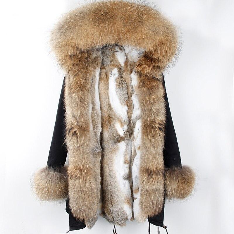 2018 New Winter Rabbit Fur Coat Women Long Real Fur Parka Army Black Big Nature Raccoon