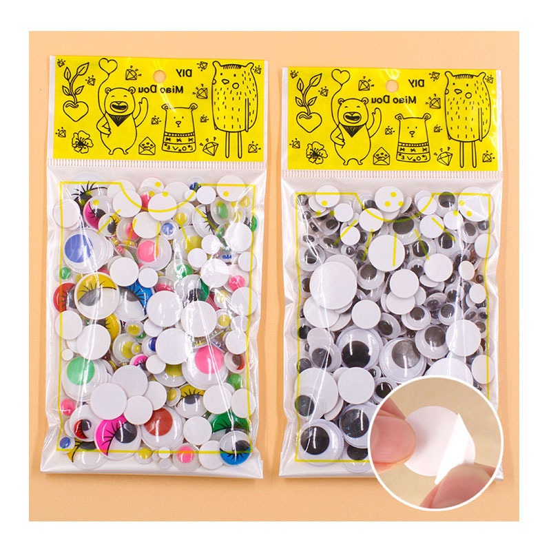 300 Pcs/pack Plastic DIY Crafts Eyes Accessories With Adhesive For Children's Toy Animal Dolls Painting Eye Decoration 6-25mm