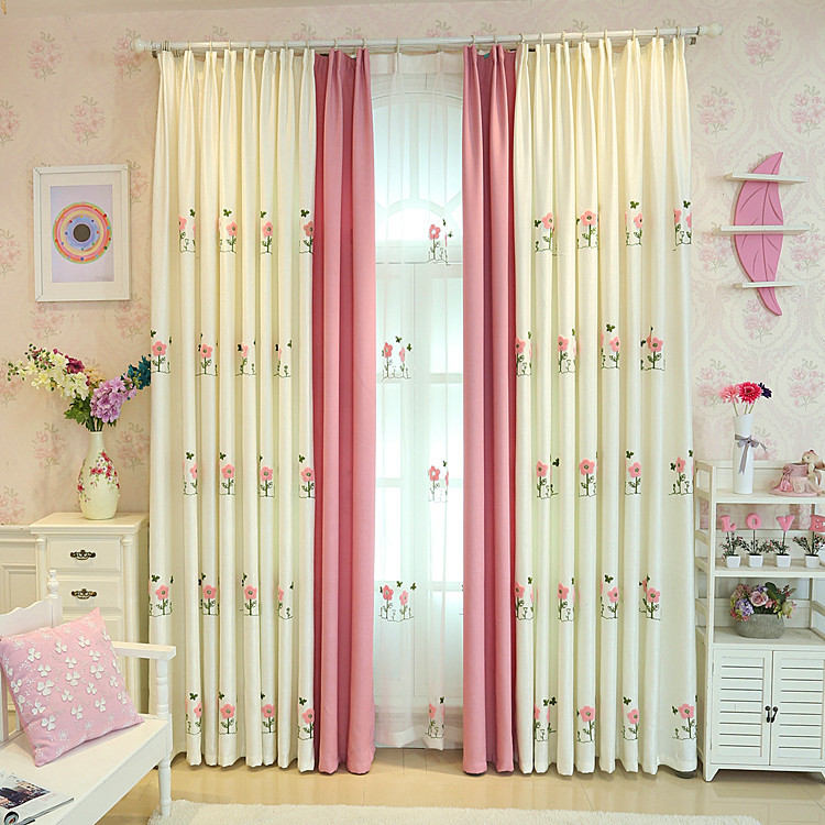 RZCortinas Blackout Curtains for Living Room White Pink Tulle Curtain with Flower Embroidered Blinds For Girl Children BedroomRZCortinas Blackout Curtains for Living Room White Pink Tulle Curtain with Flower Embroidered Blinds For Girl Children Bedroom