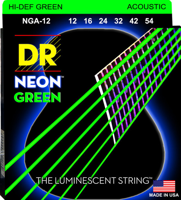 Акустические струны DR K3 Hi def, неоново зеленые люминесцентные Струны для гитары, индивидуальный светильник 11 50 или светильник 12 54