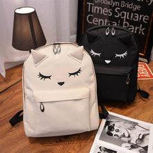 Cartoon Cat Printing Backpack Canvas School bags For Teenage Girls Bookbags College Travel Packpacks Shoulder Bag