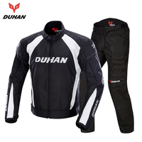 DUHAN Men's Motorcycle Jacket Windproof Riding Touring Jacket Racing Sports Jacket and Pants Clothing With Five Protector Guards