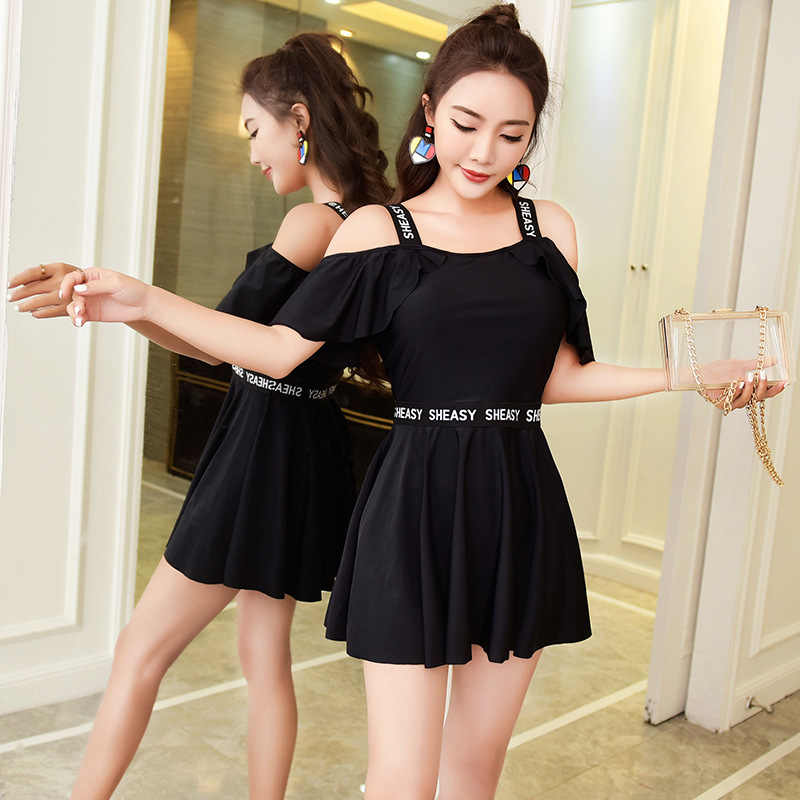 2019 New Sexy Black Women One Piece Swimwear Skirt Bathing Suit Summer Swimming Dress Sports Underwire Swimsuit Swim Beach Wear