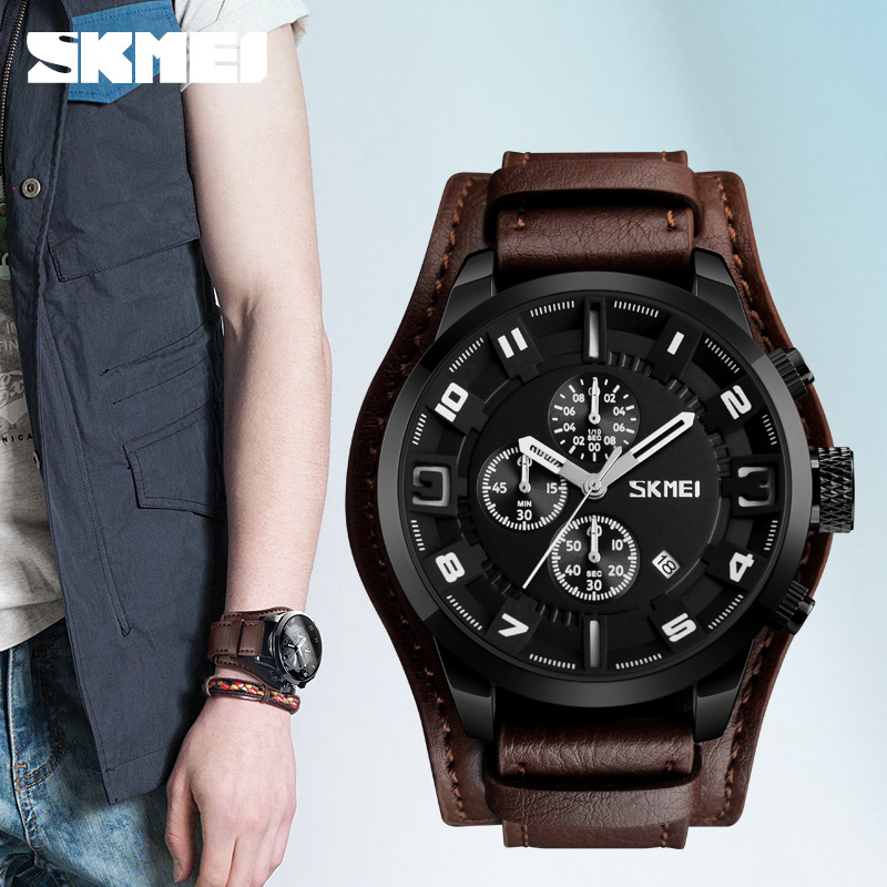 Relogio Masculino SKMEI Army Military Quartz Mens Watches Top Brand Luxury Leather Men Watch Casual Sport Male Clock Watch рюкзак городской nova tour вижн цвет черный серый 20 л