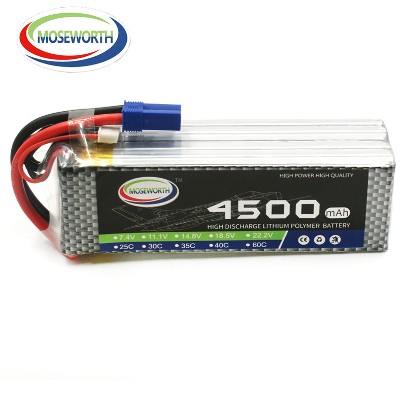 New Hot MOSEWORTH RC LiPo battery Power 22.2V 4500mah 25C 6S Li-ion Batteria for RC Airplane Helicopter Car Quadrotor Drone AKKU 3pcs battery and european regulation charger with 1 cable 3 line for mjx b3 helicopter 7 4v 1800mah 25c aircraft parts