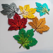 6pcs/set maple leaf embroidery patches for clothing 3D leaves embroidered Patches DIY iron on Embroidery appliques parches