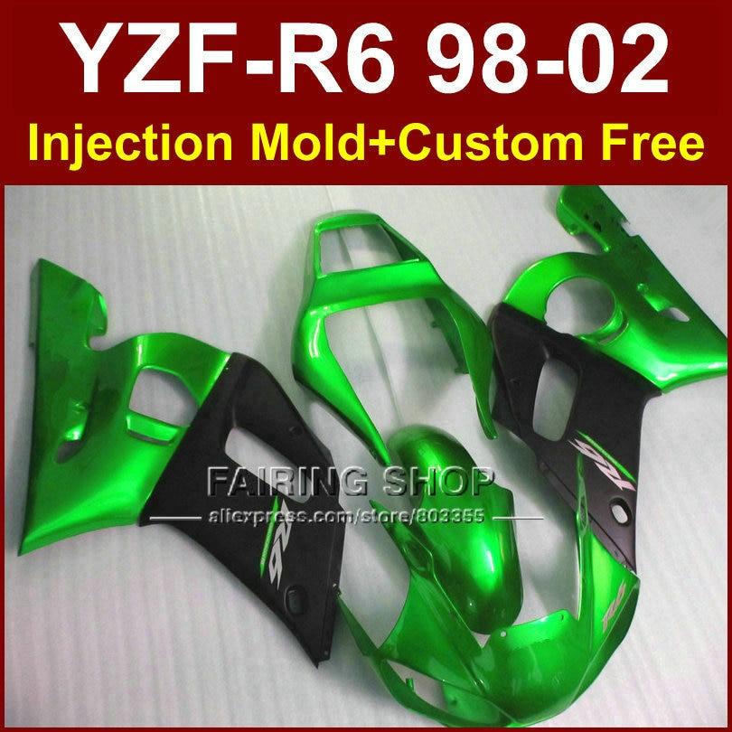 R8E ABS Verde Negro carenados para YAMAHA YZF R6 1998, 1999, 2000, 2001, 2002 carenados de YZF R6 98- 02 piezas de reparación del cuerpo 9H9